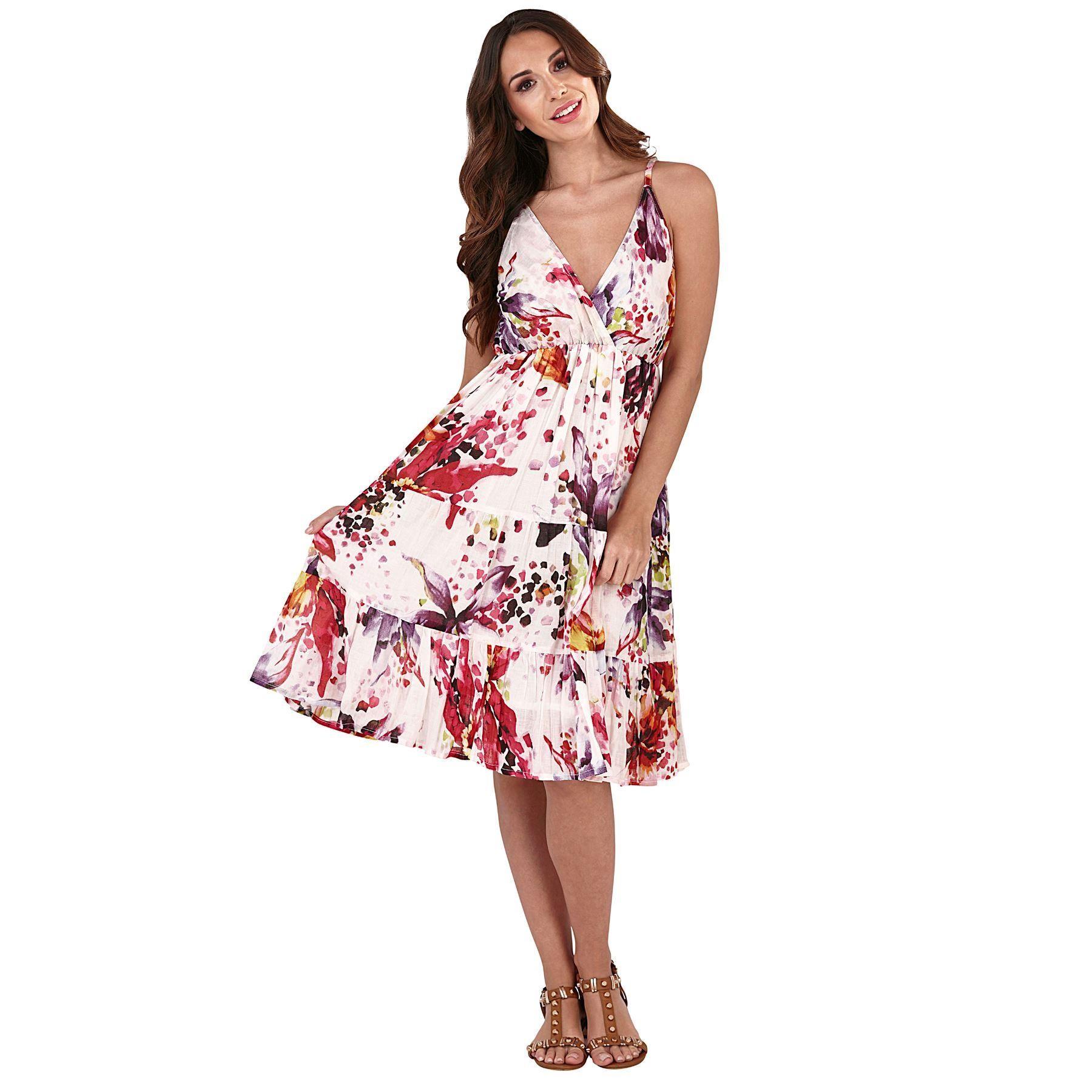 Pistachio Floral Print Crossover Dress - White