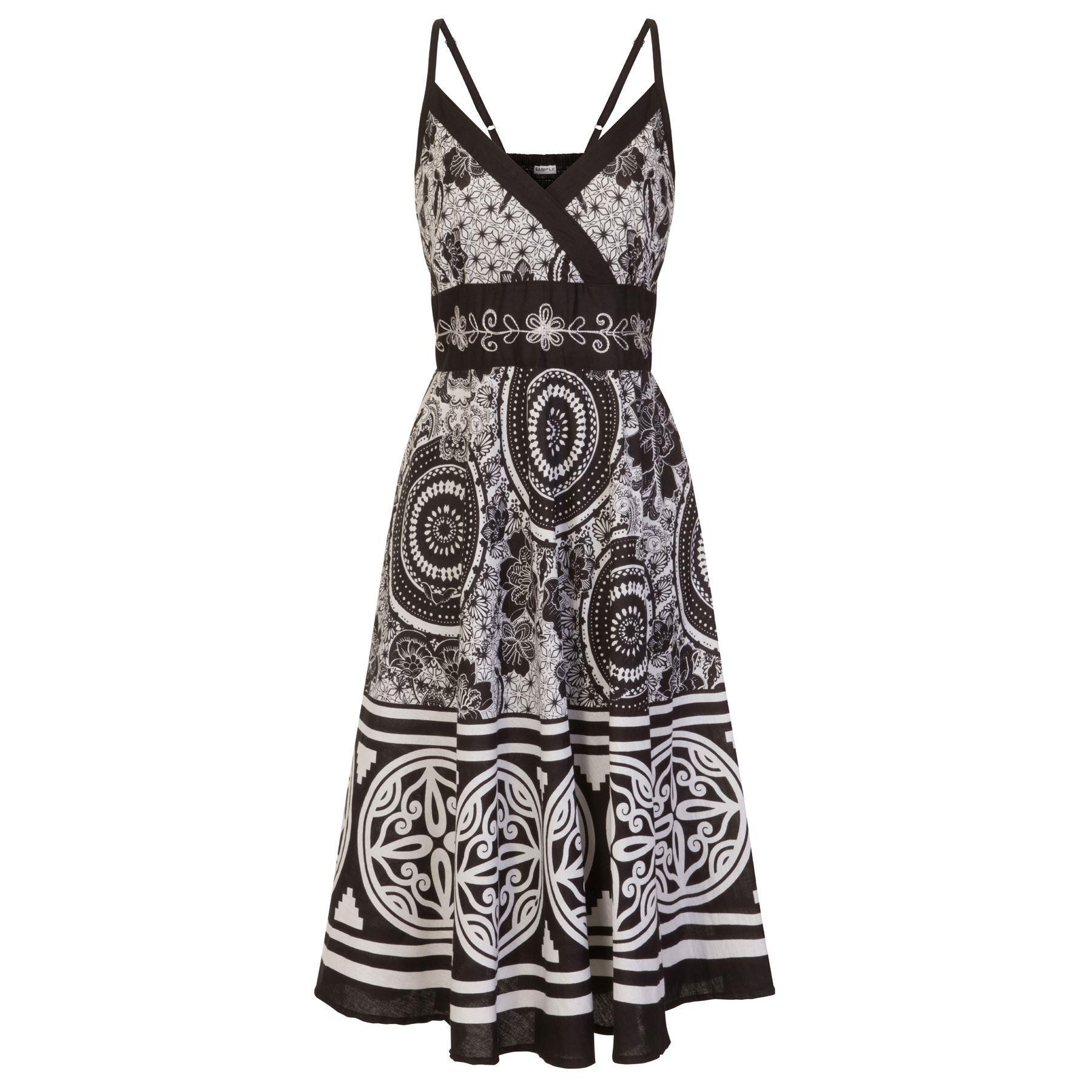 Pistachio Floral/Pattern Crossover Dress - Black