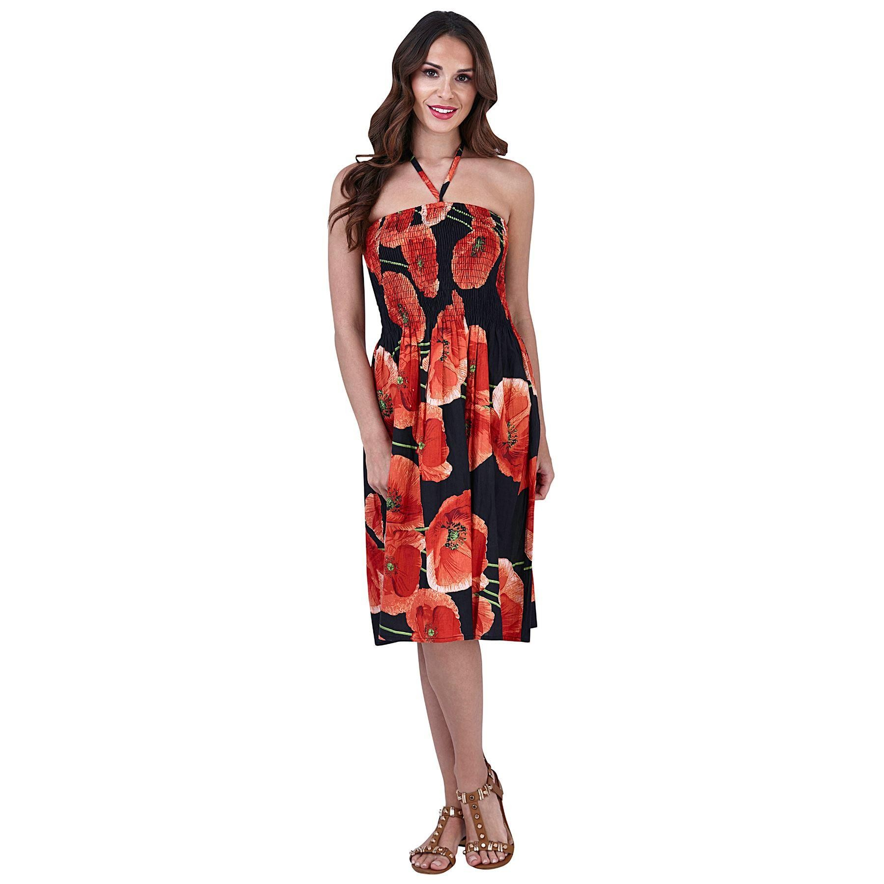 Pistachio Poppy Print 3 in 1 Dress - Red