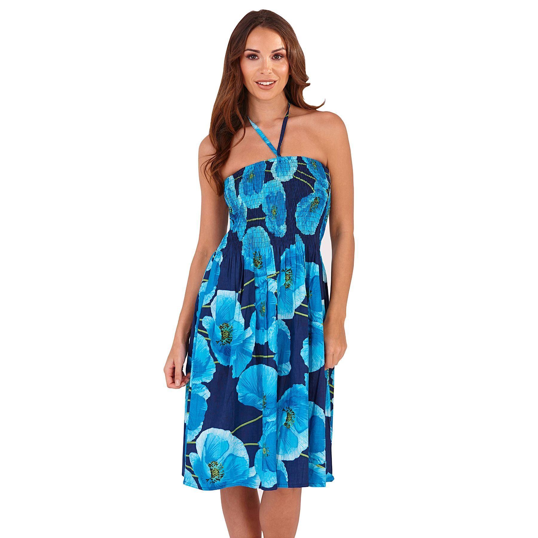 Pistachio Poppy Print 3 in 1 Dress - Blue