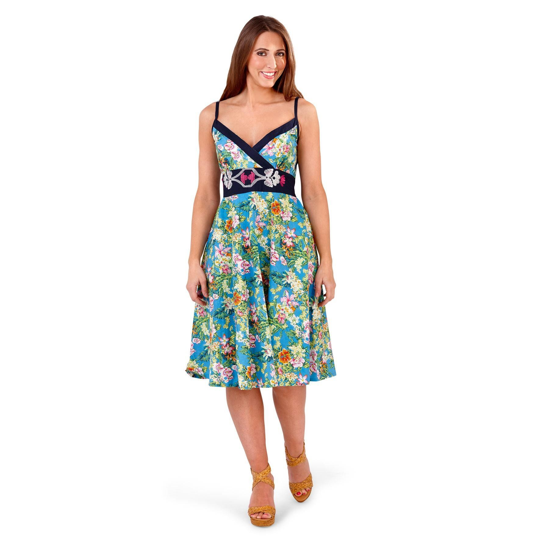 Pistachio Floral Crossover Dress - Blue/Navy