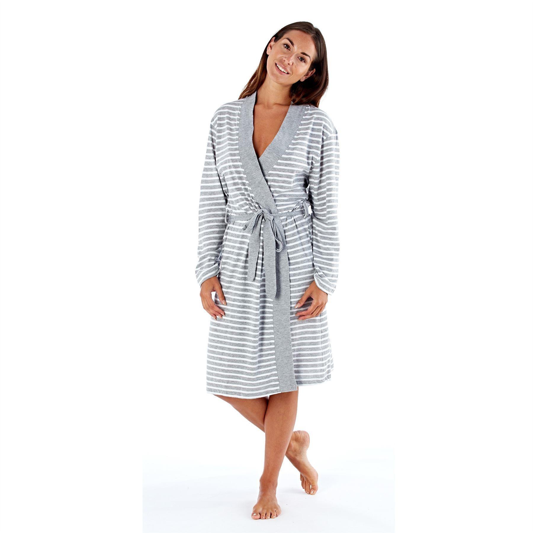 Selena Secrets Kimono Style Striped Robe - Grey