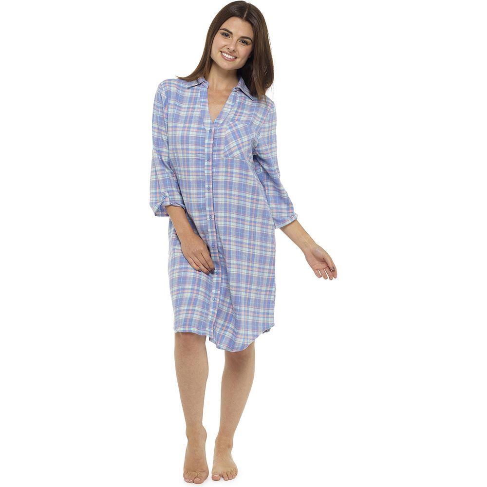 Ladies Yarn Dyed Check Night Shirt - Lilac