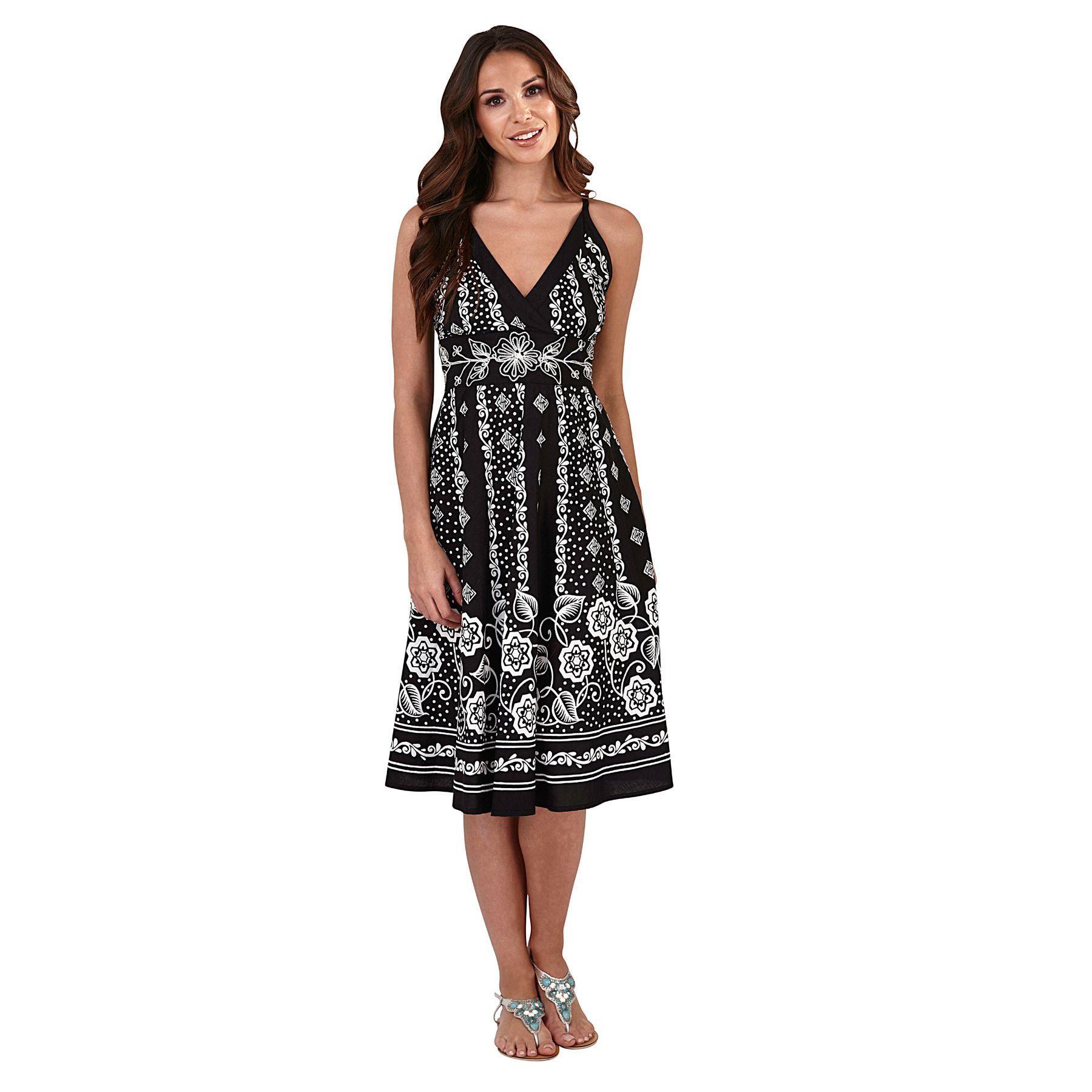 Pistachio Print Crossover Dress - Black/White