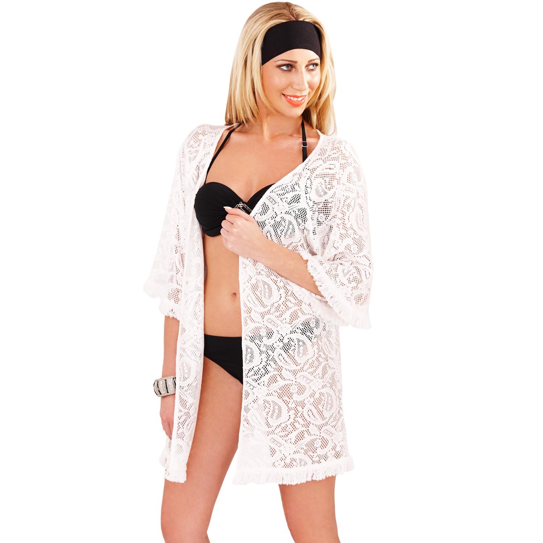 Boutique Crochet Tassel Fringe Kimono Cover Up - White