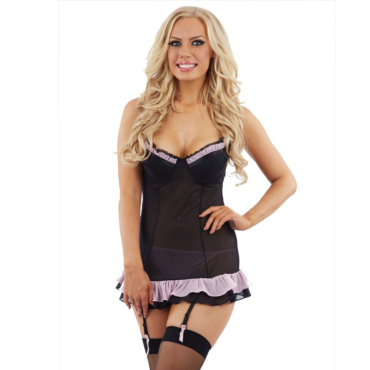 Sunburst Ruffled Chemise and Suspenders - Black