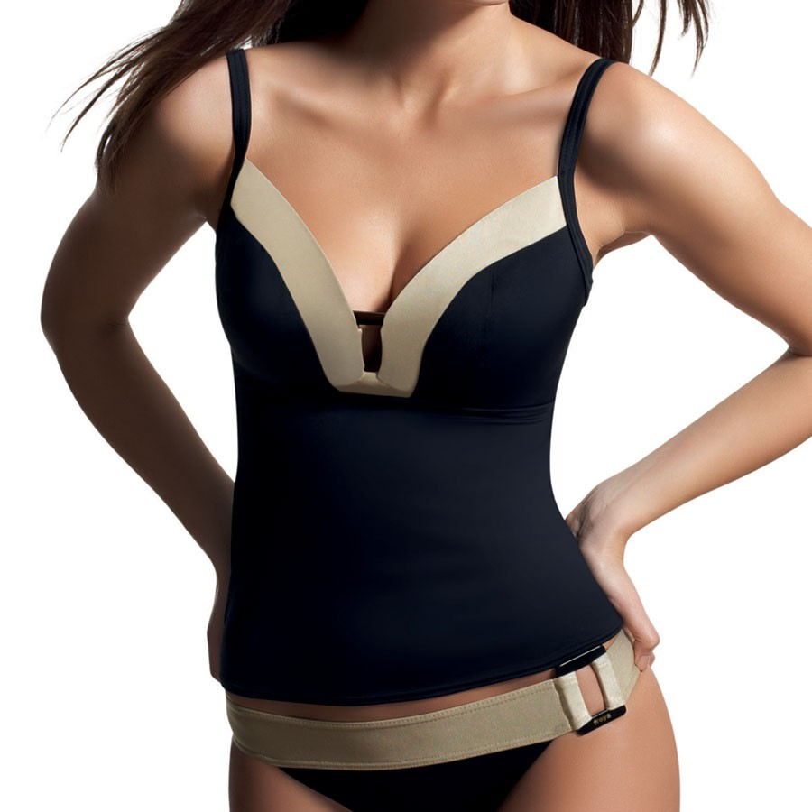 Freya Supernova Soft Cup Tankini Top - Black/Gold