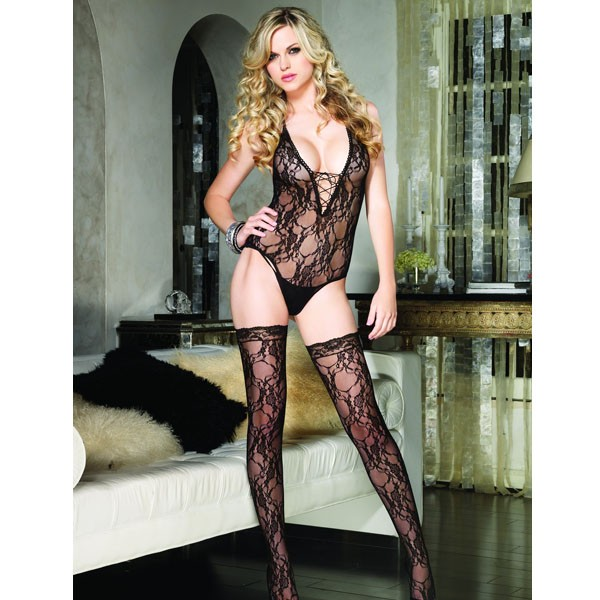 Leg Avenue Lace Up Teddy and Stockings - Black
