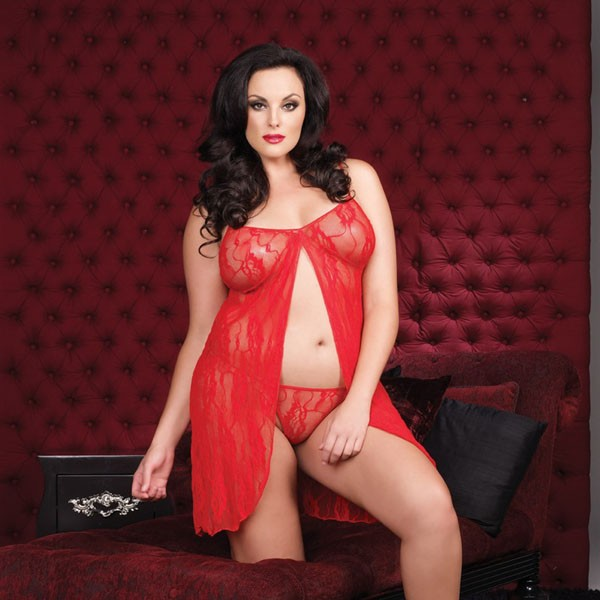 Leg Avenue Plus Size Romantic Lace Babydoll and G String - Red