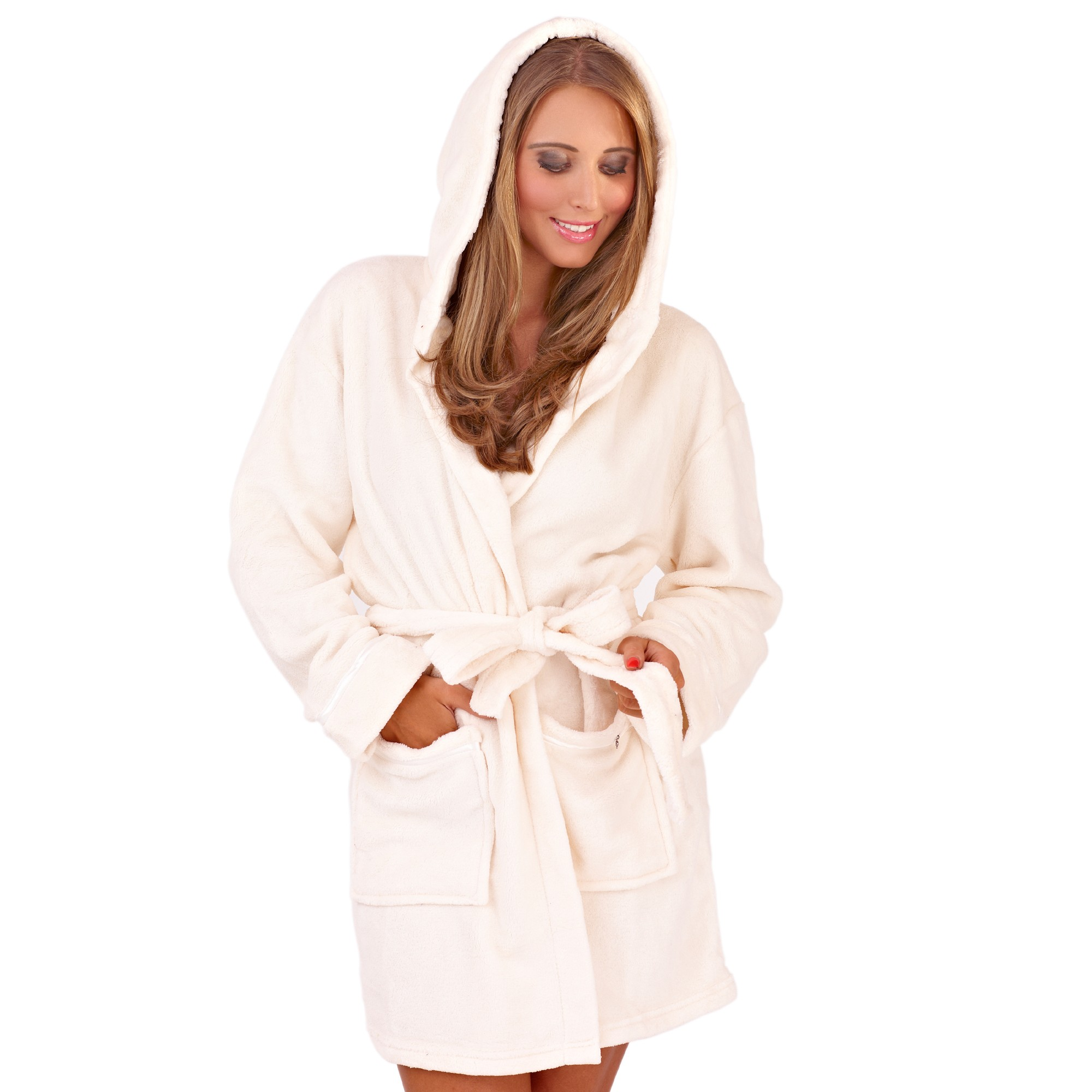 Ladies Super Soft Hooded Fleece Dressing Gown - Cream