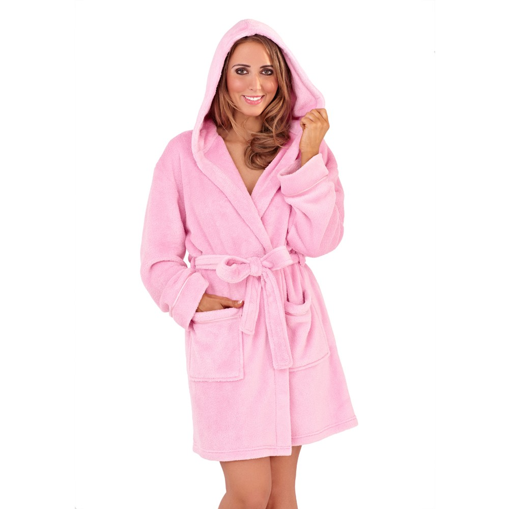 Ladies Super Soft Hooded Fleece Dressing Gown - Sorbet Pink