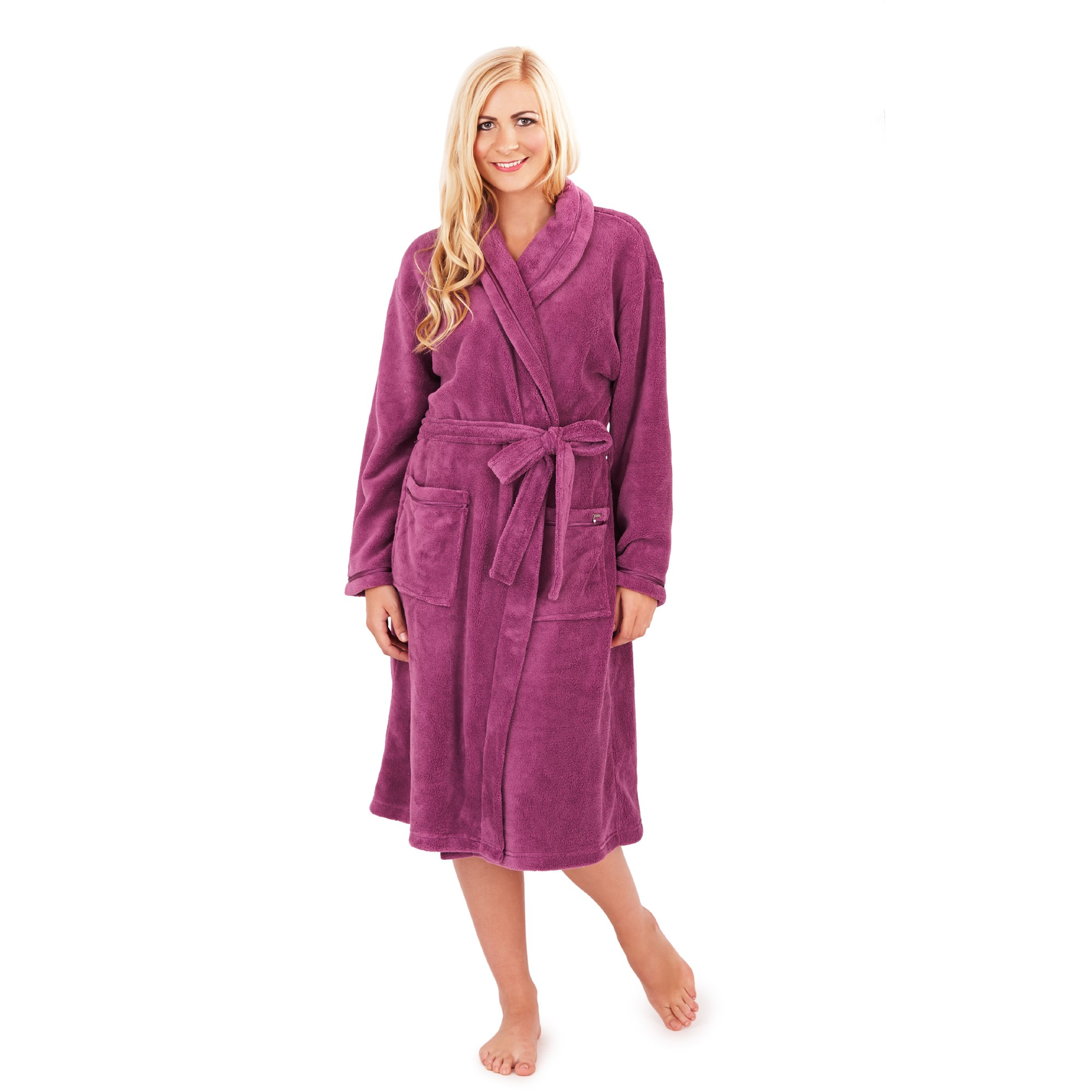 Ladies Super Soft Fleece Dressing Gown - Berry