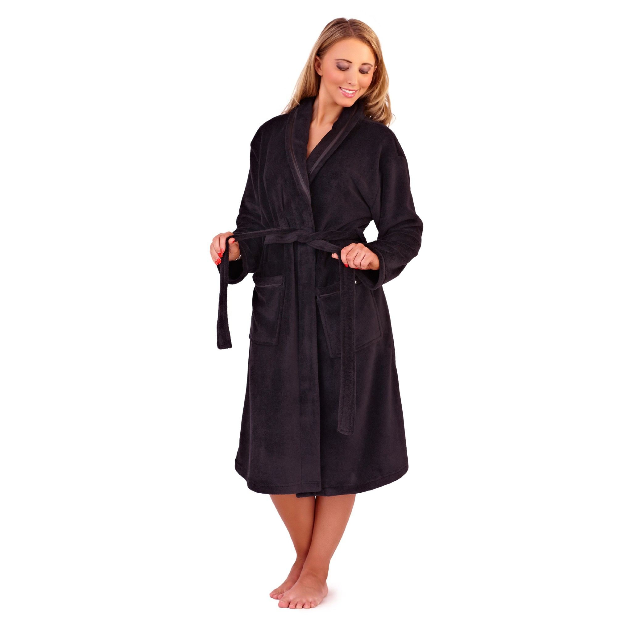 Ladies Super Soft Fleece Dressing Gown - Black