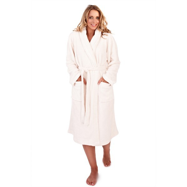 Ladies Super Soft Fleece Dressing Gown - Cream