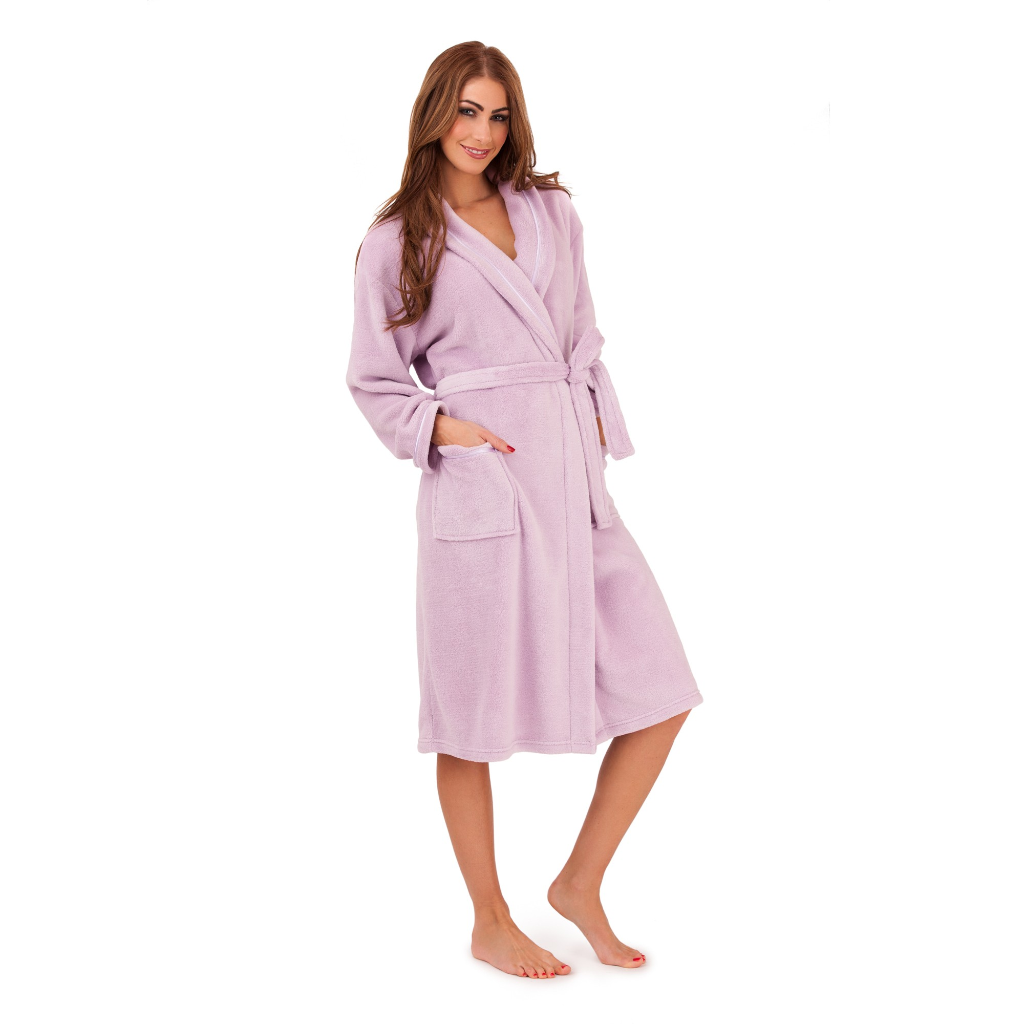 Ladies Super Soft Fleece Dressing Gown - Lilac