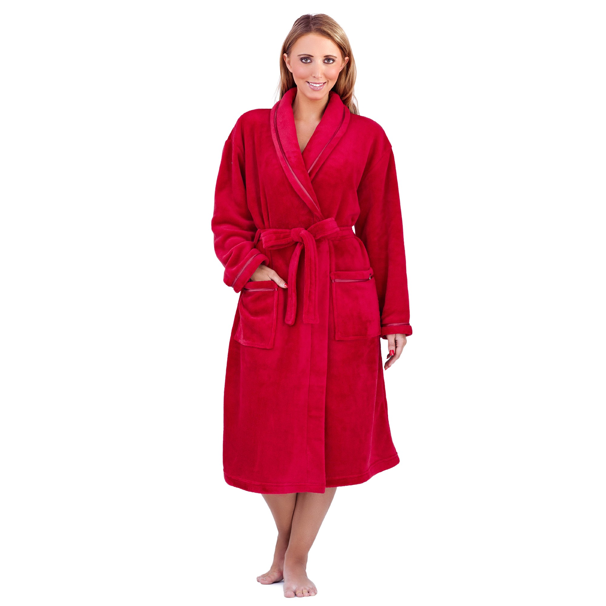 Ladies Super Soft Fleece Dressing Gown - Red