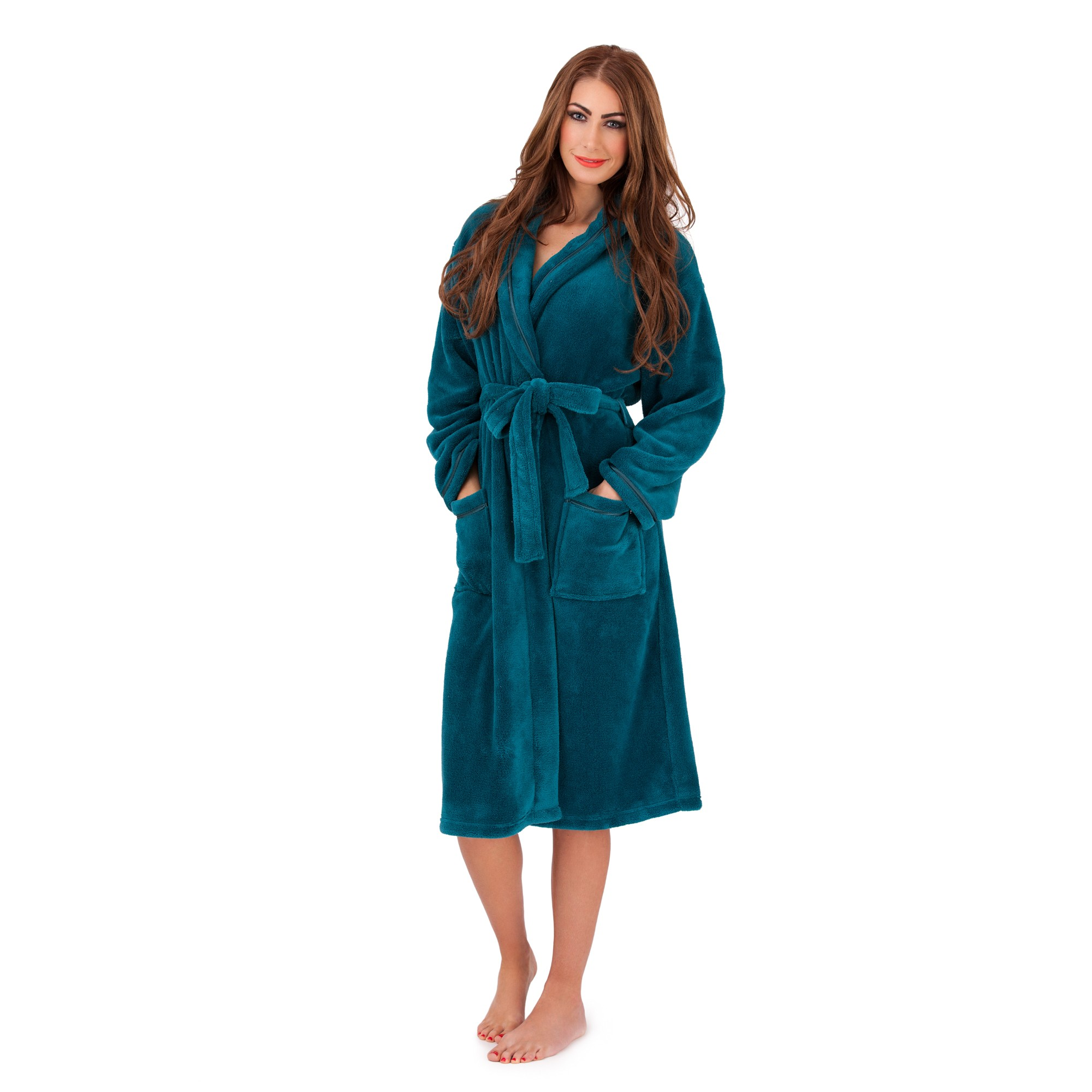 Ladies Super Soft Fleece Dressing Gown - Teal | Free UK Delivery ...