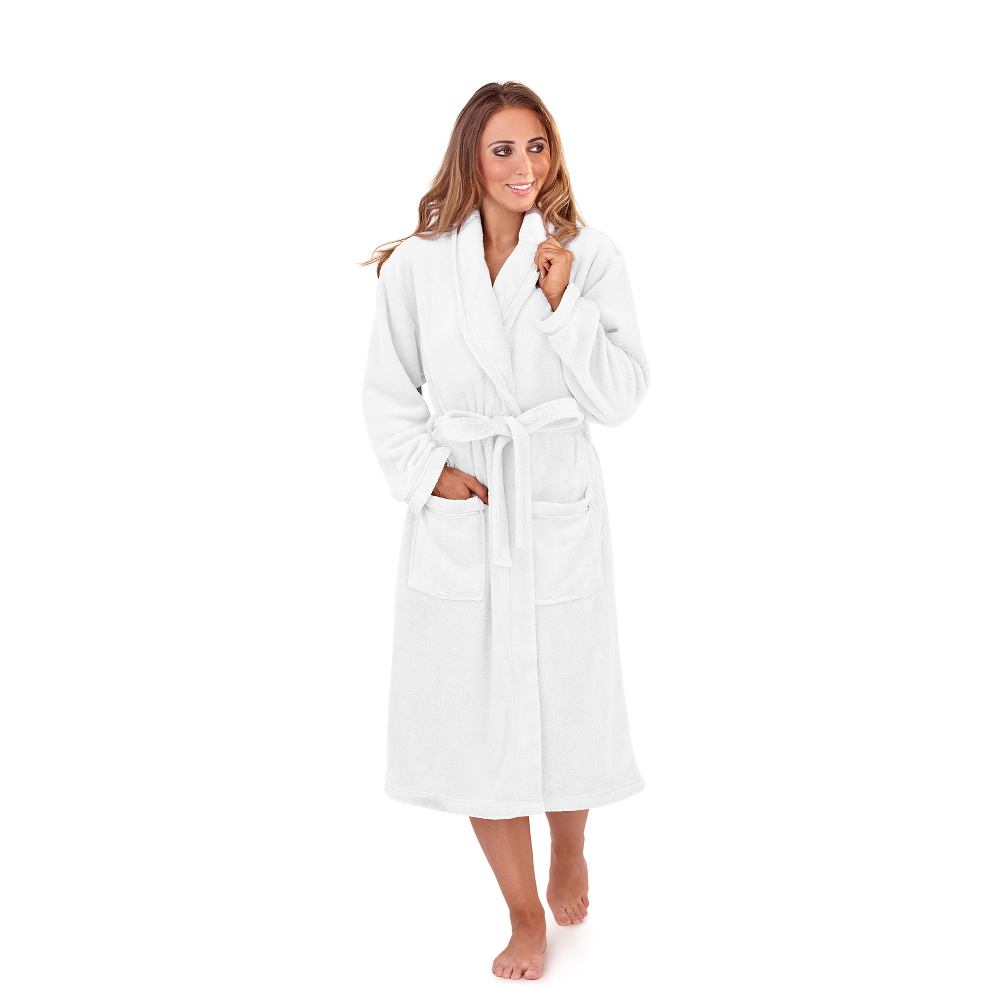 Ladies Super Soft Fleece Dressing Gown - White | Free UK Delivery ...