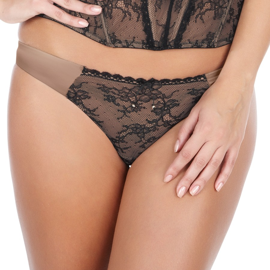 Masquerade Antoinette Thong - Champagne/Black