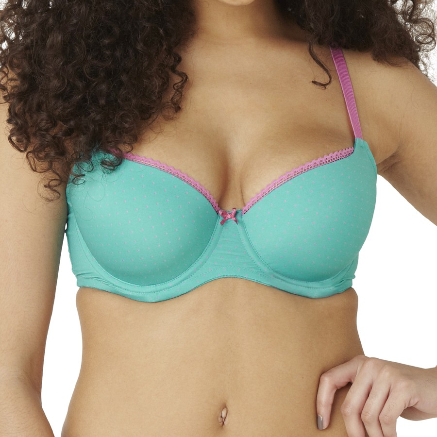 Panache Cleo Maddie Spot Moulded Balcony T Shirt Bra - Teal