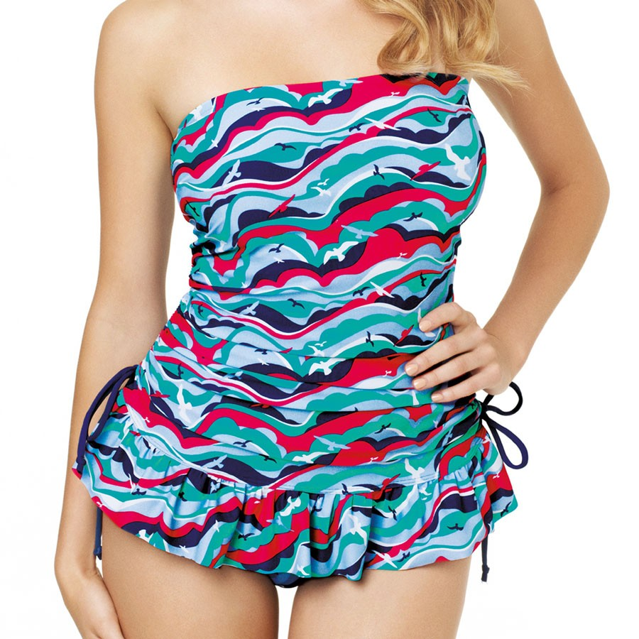 Panache Cleo Tilly Bandeau Tankini Dress - Bird Print