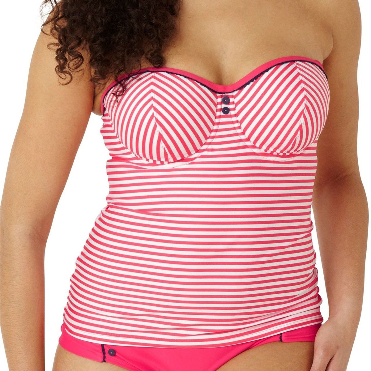 Panache Cleo Lucille Padded Bandeau Tankini Top - Coral