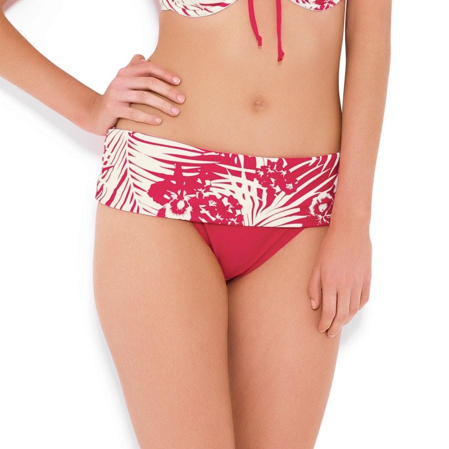 Panache Claudette Folded Bikini Brief - Geranium/Ivory