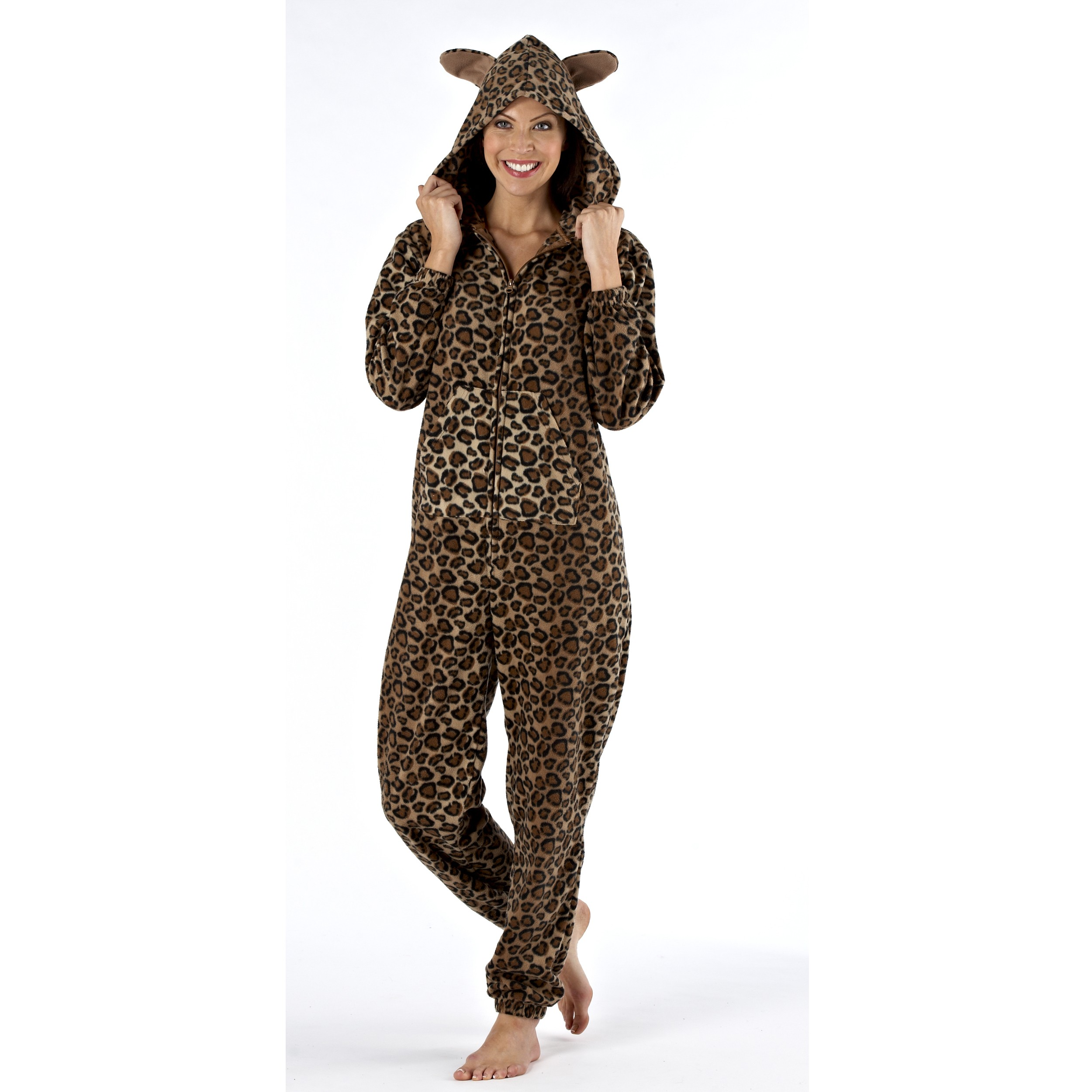 Selena Secrets Animal Print Fleece Hooded Onesie - Brown