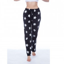 Selena Secrets Ladies Star Print Fleece Lounge Pants - Black
