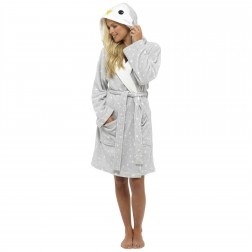 Loungeable Boutique Penguin Hooded Robe - Grey