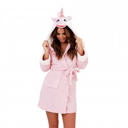 Loungeable Boutique Unicorn Hooded Robe - Pink