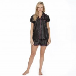 Forever Dreaming Short Satin Pyjama Set - Black