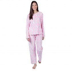 Selena Secrets Ladies Rabbit Fleece Pyjama Set - Pink