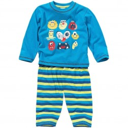 Children's Multi Monsters Pyjamas - Blue/Stripe