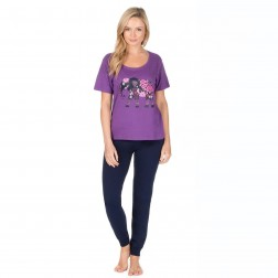 Forever Dreaming Elephant Logo Pyjama Set - Purple