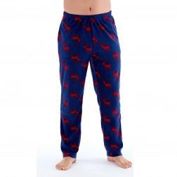 Harvey James Mens Stag Print Fleece Lounge Pants - Navy