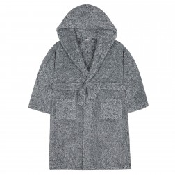 Kids Two Tone Fleece Robe - Charcoal