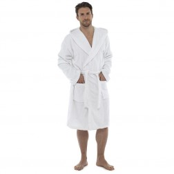 Tom Franks Cotton Hooded Towelling Robe - White