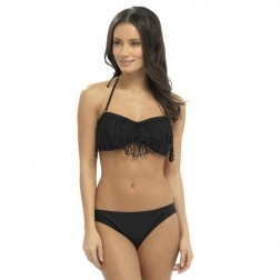 Tom Franks Fringe Detail Bikini Set - Black