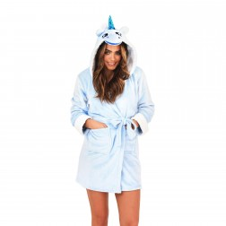 Loungeable Boutique Unicorn Hooded Robe - Blue