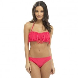 Tom Franks Fringe Detail Bikini Set - Pink
