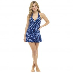 Ladies Tummy Control Swimdress - Geometric Print