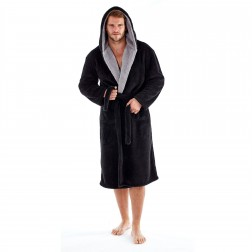 Harvey James Mens Hooded Contrast Well Soft Robe - Black