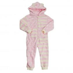 Onezee Spot/Stripe Fleece Onesie - Pink/Cream
