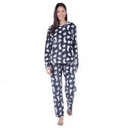 Selena Secrets Ladies Rabbit Fleece Pyjama Set - Charcoal