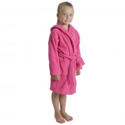 Kids Hooded Towelling Robe - Hot Pink