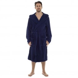 Tom Franks Cotton Hooded Towelling Robe - Navy