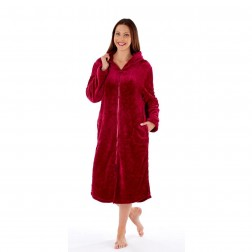 Inspirations Zip Through Fleece Robe - Burgundy
