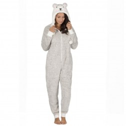 Onezee Novelty Two Tone Snuggle Onesie - Taupe