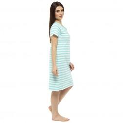 Ladies Short Sleeve Nightie - Green Stripe